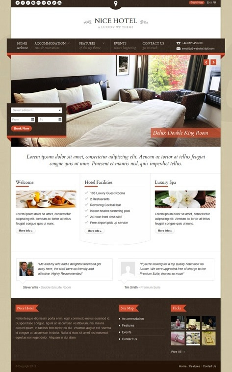 Responsive Hotel Theme with Events and Reservation Modules - Nice Hotel
