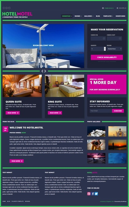 Responsive Hotel WordPress Theme with Online Booking Module - HotelMotel