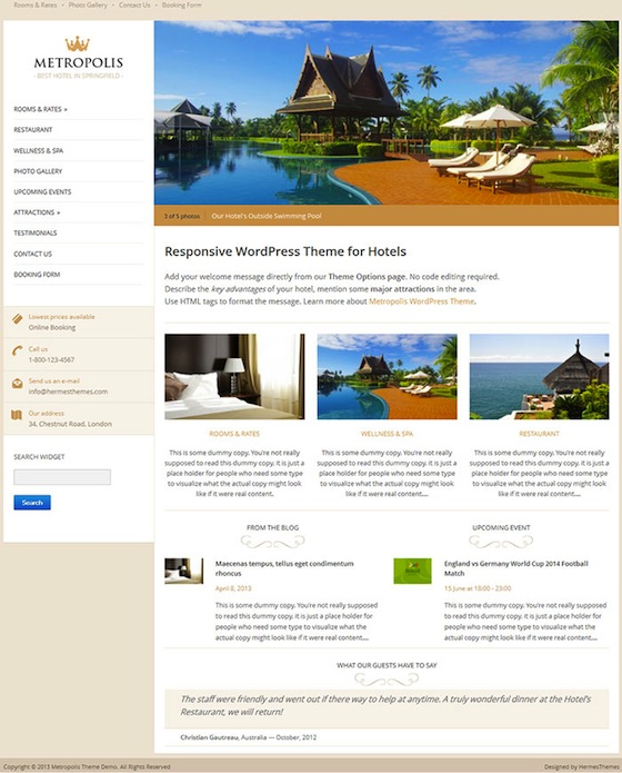 Responsive Hotel Theme with Online booking form - Metropolis