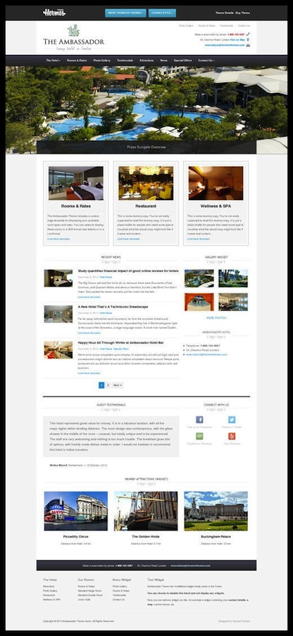 Responsive Hotel WordPress Theme -The Ambassador