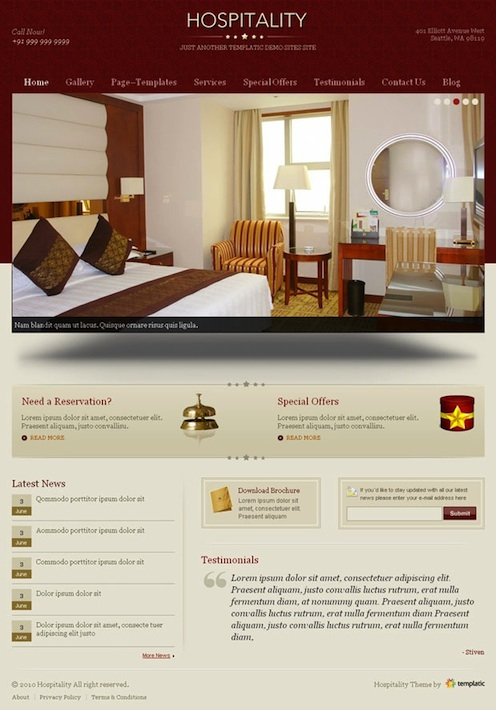 Hotel WordPress Theme - Hospitality