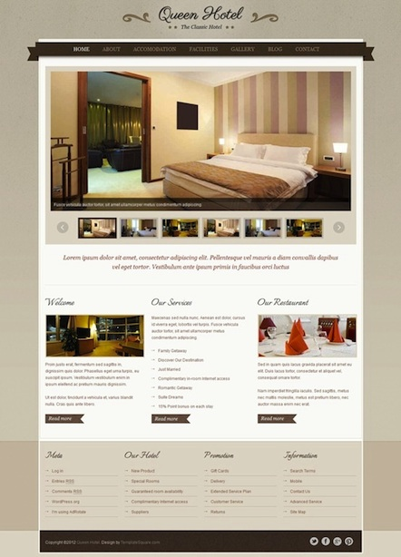 Hotel WordPress Theme with Room Module and Testimonials - Queen Hotel