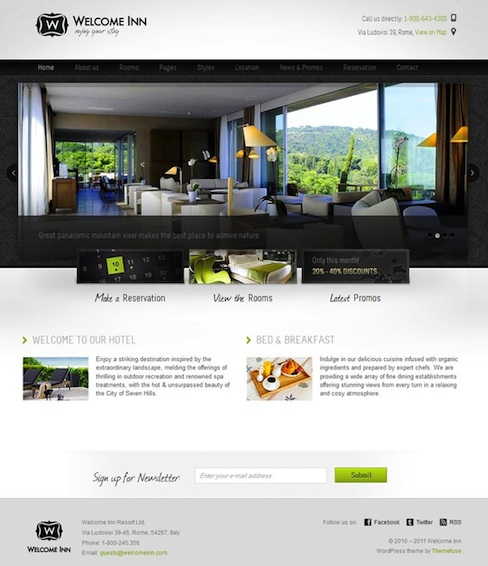 Hotel WordPress Them with Online Booking Reservations - Welcome Inn