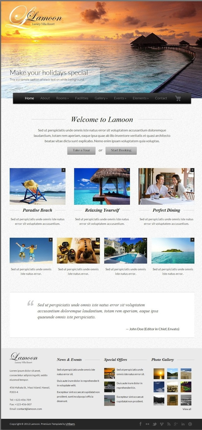 Responsive Hotel Theme with Events and Reservations - Lamoon