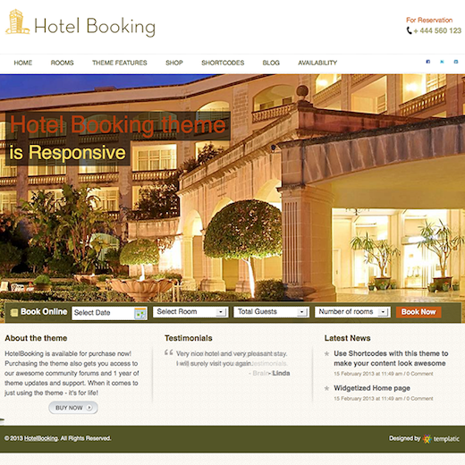 Responsive Hotel WordPress Theme with Online Reservation Module - Hotel Booking