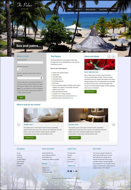 Responsive Hotel WordPress Template with Reservation Module - The Palace