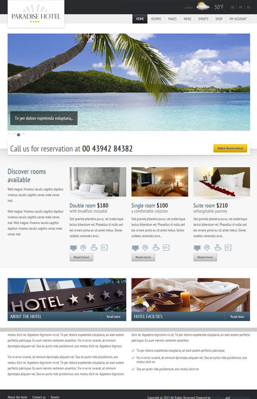 Responsive Hotel Theme with Events manager and Online Reservations - Paradise Hotel
