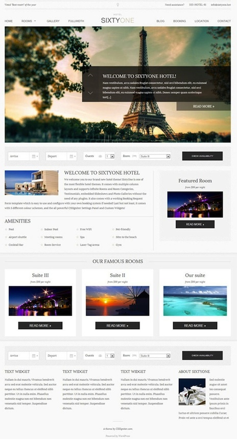 Responsive Hotel WordPress Template - SixtyOne