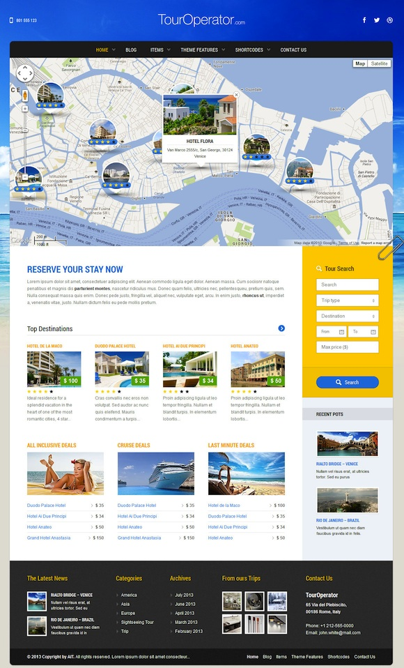 Responsive Hotel Booking WordPress Theme - Tour Operator